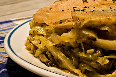 Potato Pie with Cabbage and Mustard