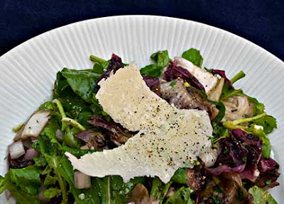Grilled Radicchio and Arugula Salad with Parmesan Shavings