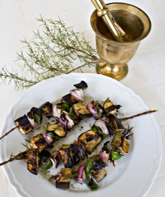 Eggplant Kebabs on Rosemary Skewers