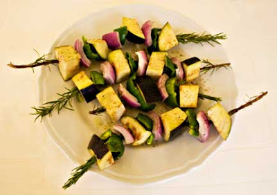 Eggplant Kebabs Ready for the Grill