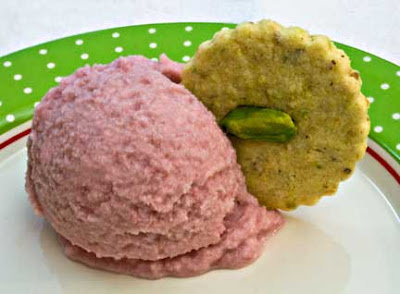 Pomegranate Ice Cream with Pistachio-Cardamom Cookies