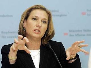 Primeira-ministra israelense Tzipi Livni