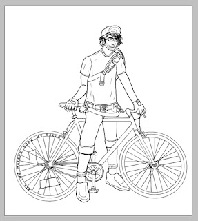 cartoon fixed gear, cartoon hipster