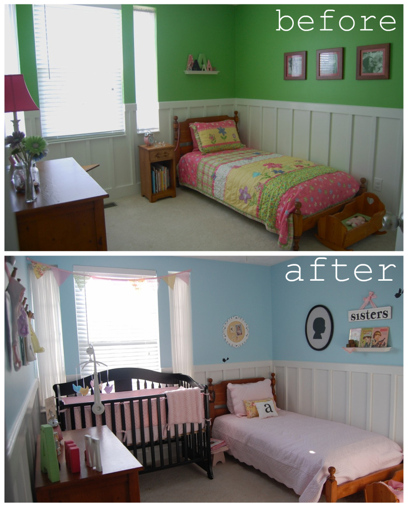 I was dealing with a small room and had to make it work for me  I had the  most fun ever putting this room together for my sweet girls. room reveal collage jpg
