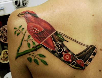 Bird - plane tattoo