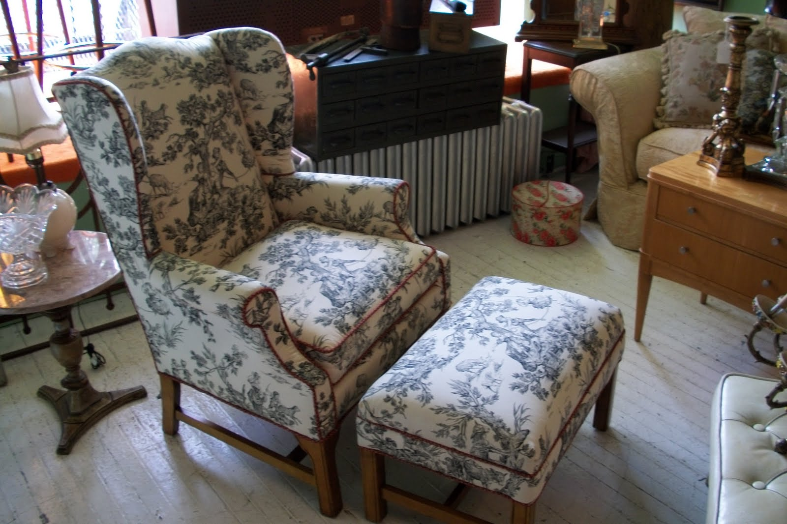 Toile Wingback Chair