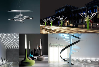 Designs By Ross Lovegrove. Clockwise From Top Left: Mercury Ceiling Lamp  For Artemide,