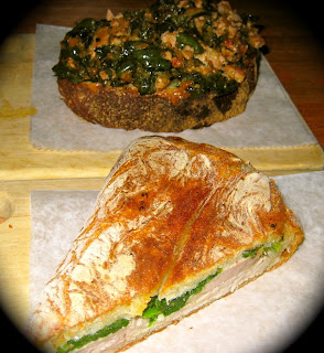 Roast pork panini and pork sausage and black cabbage bruschetta