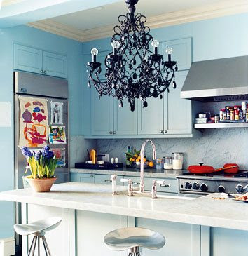 Domino Kitchen Design with Chandelier