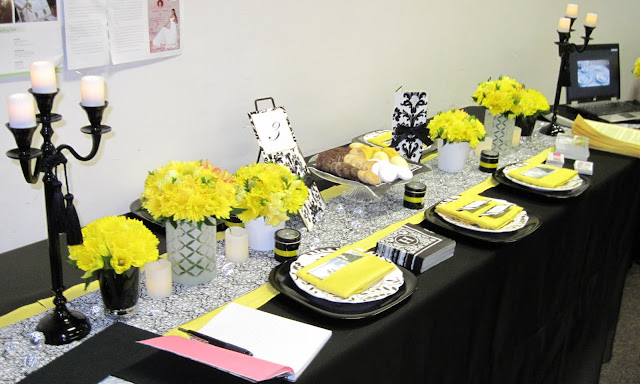 Black And White Damask With Yellow Accent