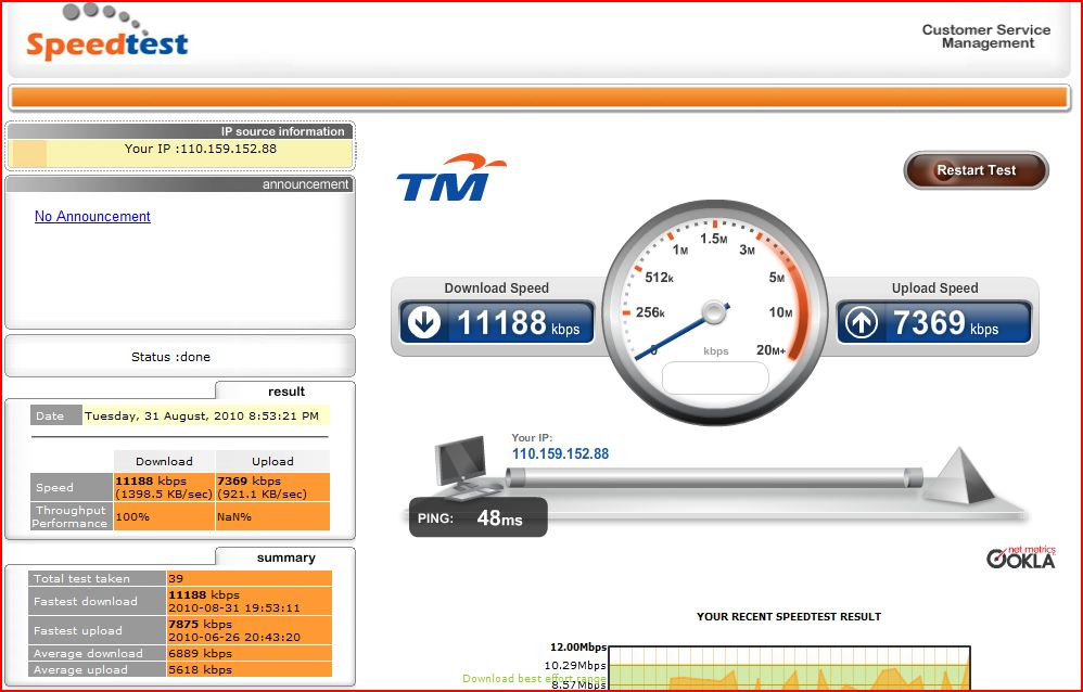 Turk Telekom Speed Test