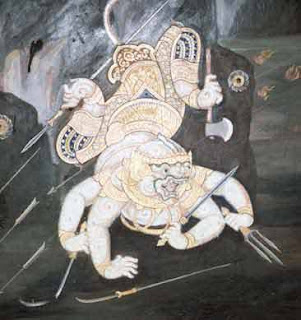 chances are that it probably represents Hanuman in the Thai Ramakien