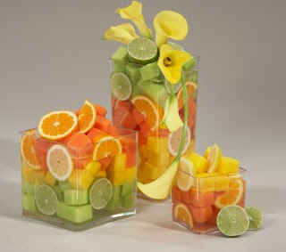 centerpiece using sliced lemons, limes and oranges