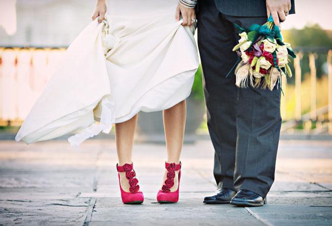 Beautiful Bridal Red Bridal Shoes