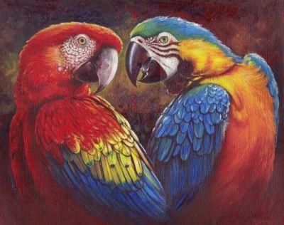Pintura de loros