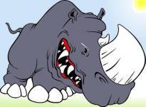 Dibujo de un rinoceronte enojado