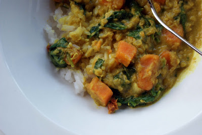 Lentil+sweet+potato+curry+3 Red Lentil & Sweet Potato Curry with Spinach