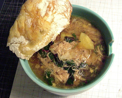 Pork+Soup Day 327: Pork, Potato and Swiss Chard Soup with Rosemary, and No knead Bread