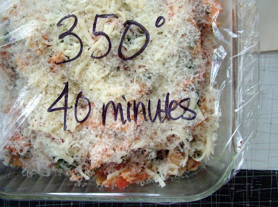 Pasta+ready+to+freeze Day 333: Roasted Red Pepper and Tomato Soup, Baked Penne with Sausage and Spinach and Chocolate, Pecan and Olive Oil Wafers