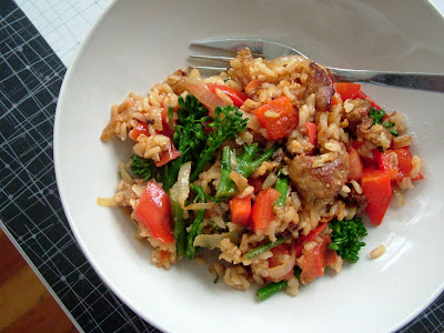 Sausage+Rapini+Skillet Day 347: Sausage & Rapini Rice Skillet and Orange Almond Biscotti