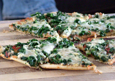 Spinach+pizza Potato Skins and Spinach Pizza