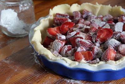 Rhubarb+pie+ +unbaked Strawberry Rhubarb Pie with Sour Cream Ice Cream