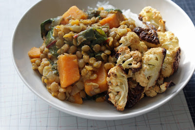 Curried+Lentils+%26+Sweet+Potatoes+3 Curried Lentils With Sweet Potatoes and Swiss Chard, and Roasted Cauliflower