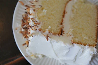 Coconut+Cake+slice Maple Rosemary Ribs and Creamy Coconut Cake