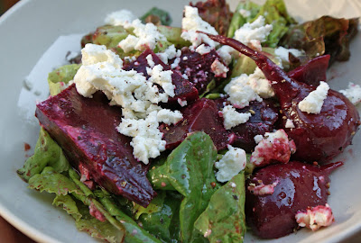 Beet+salad Grilled Bison Steaks, New Potatoes, Beet & Goat Cheese Salad and Blueberry Galette