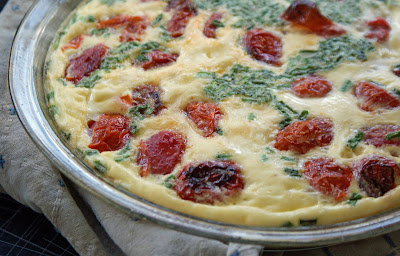 Tomato+Clafoutis Roasted Cherry Tomato and Goat Cheese Clafoutis