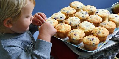 W+with+GF+muffins Gluten Free Lemon Blueberry Muffins