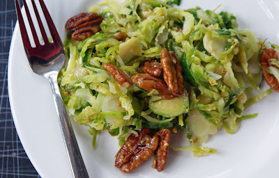 Brussels+Sprout+Slaw Brussels Sprout Slaw with Grainy Mustard Vinaigrette & Maple Pecans
