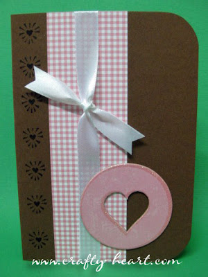 Blank Note Card in Brown and Pink