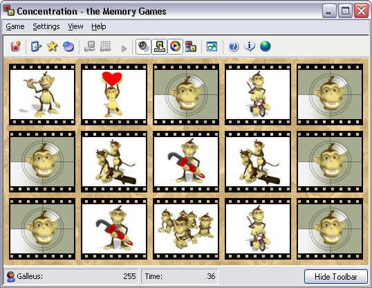 Monkey Business Animated Card Set for Concentration - the Memory Games