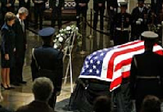 Gerald Ford in his casket lies in state