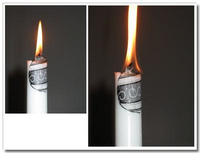 Stor låga när servettdecoupage flammar till