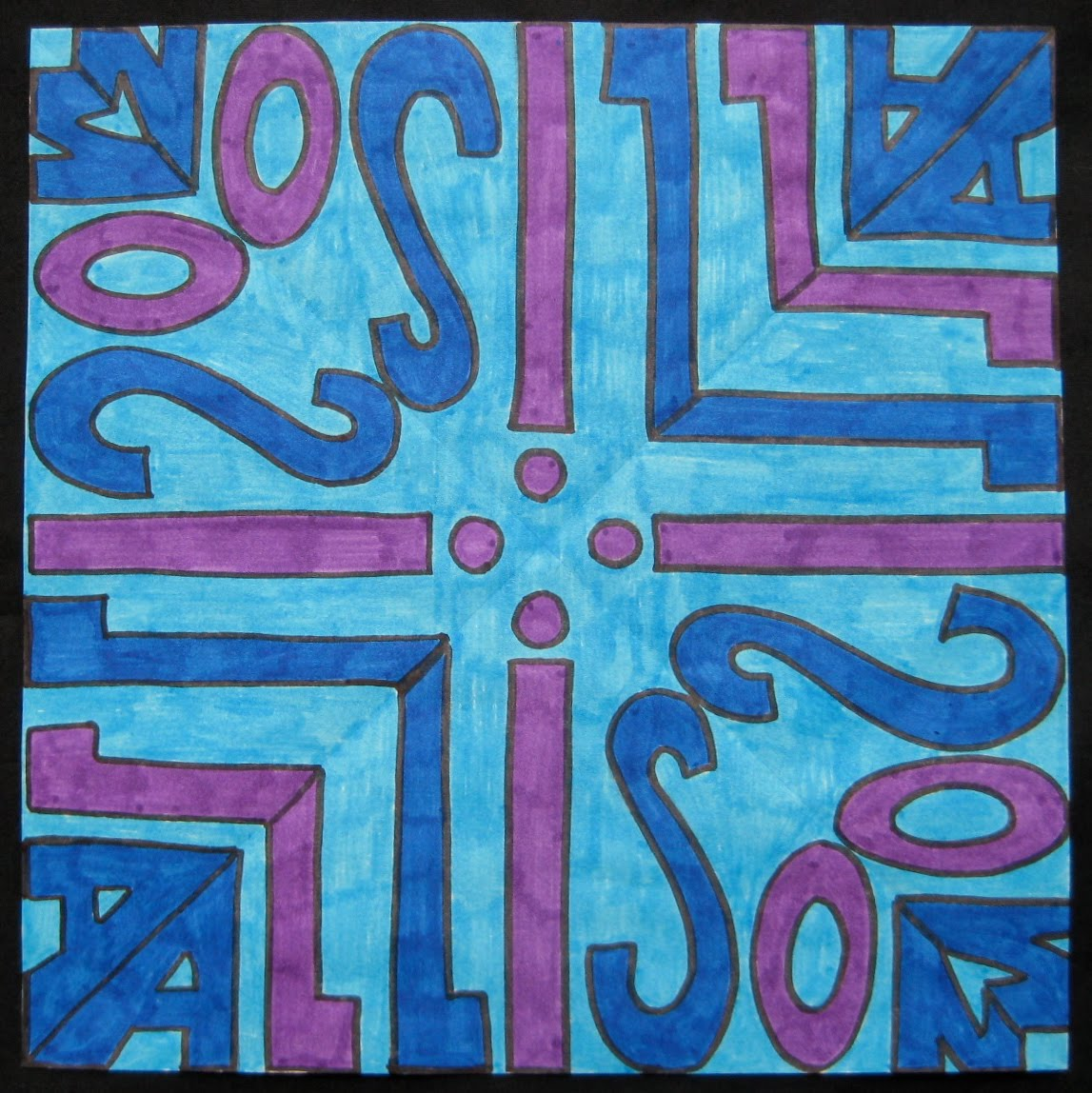 Color art kaleidoscope -  Grade Allison Colored In Cool Colors With Markers The Same Lettering But Traced Only Four Times Instead Of Eight