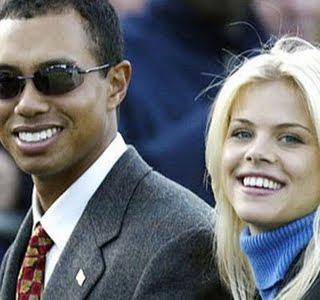 Tiger Woods with his wife, Elin Nordegren.
