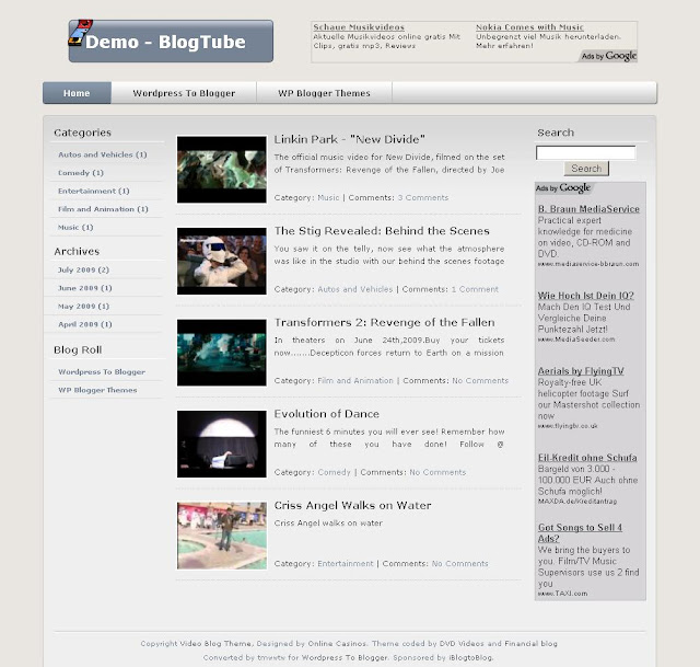 BlogTube Wordpress blogger şablonu