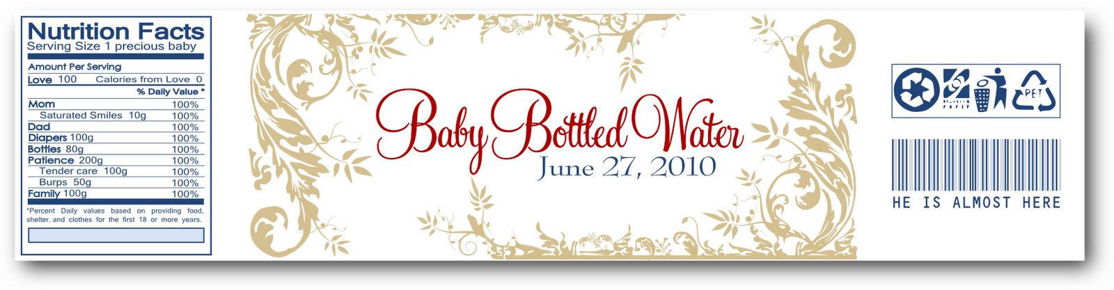 Signatures by Sarah: Baby Shower Water Bottle Label