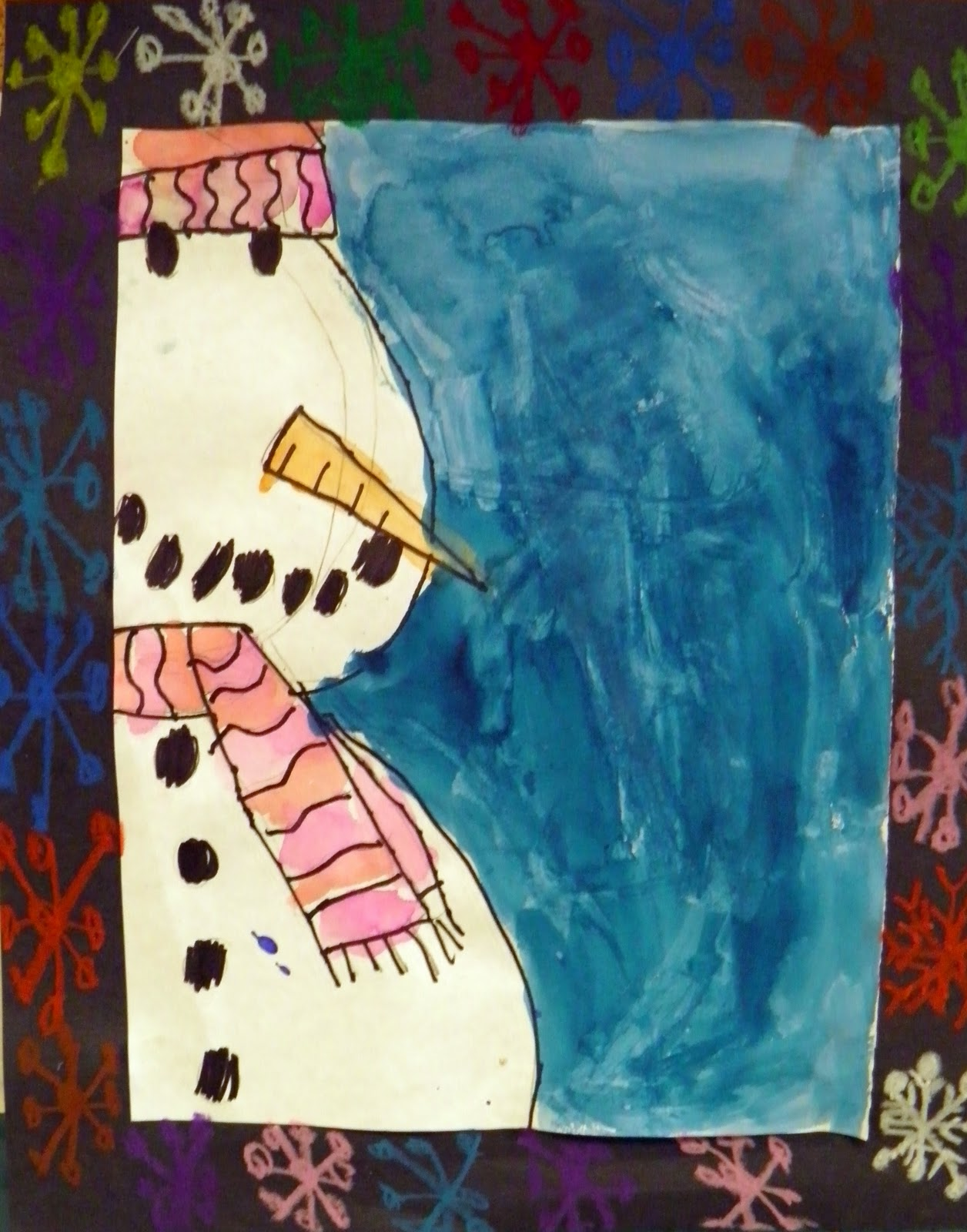 Livingston art room first grade snowman painting for How to paint snowmen
