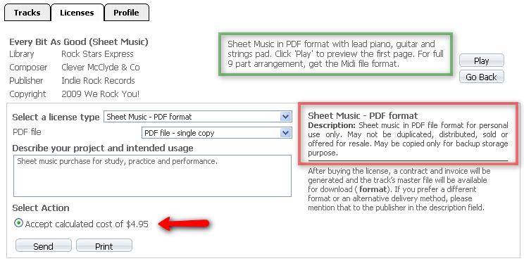 Sheet Music Setup Specific Sheet Music Item