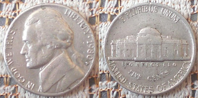 usa 5 cent nickel 1980 thomas jefferson