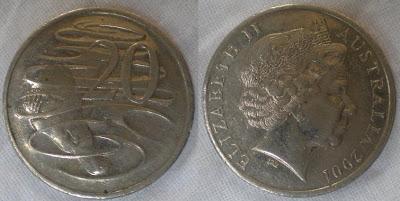 australia 20 cent 2001