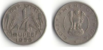 india 1/4 rupee 1955