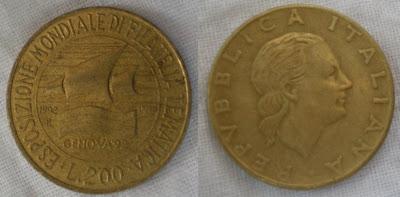 italy 200 lira genova stamps expo 1992