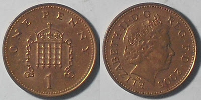 england one penny 2005