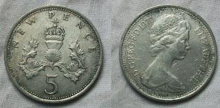 england 5 pence 1970
