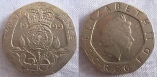 england 20 pence 1999