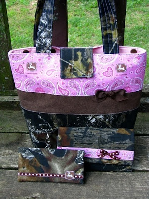 Mossy Oak Camo and Pink John Deere Purse Wallet 3 pc Set by purse4you